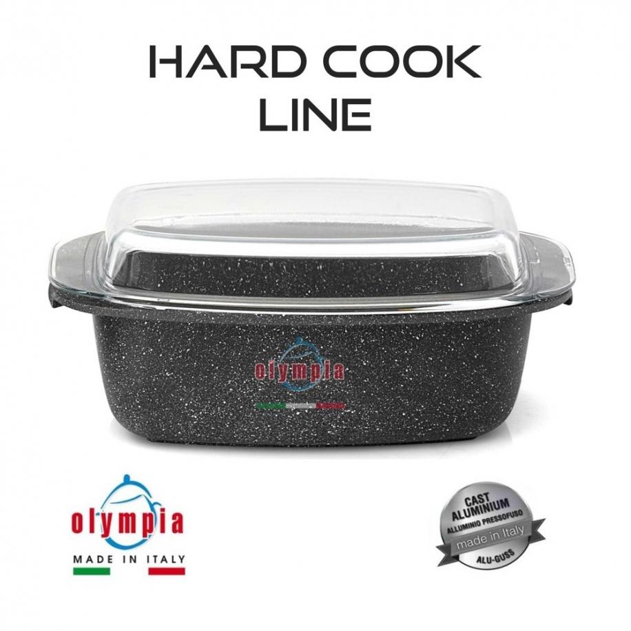 kameninový obdélníkový pekáč HARD COOK Line se skleněnou pokličkou z litého hliníku 33x22 cm