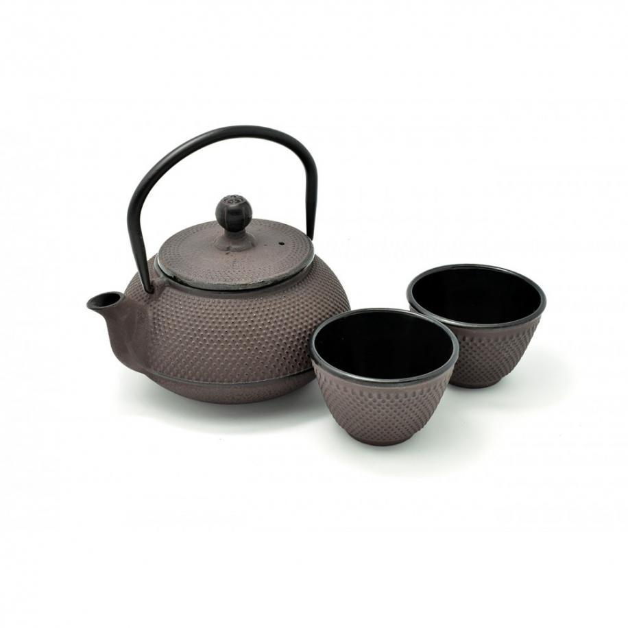 litinová konvička Arare brown na čaj 600 ml + 2 šálky