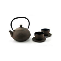 litinová konvička Ganzou Brown na čaj 900 ml + 2 šálky