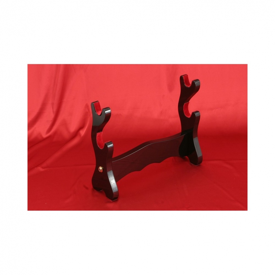 stojan pro meče - luxusní dvoupatrový z přírodního masivu (černý lesk)