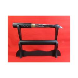 Tanto shira saya BLACK WOOD z oceli AISI 1045 s leštěnou imitací hamonu