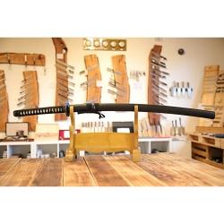 katana KASUMI z oceli AISI 1045 s leštěnou imitací hamonu