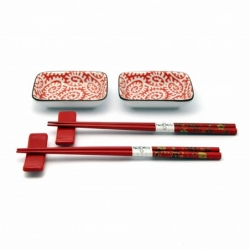 porcelánový servis na SUSHI - Karakusa Red Mini