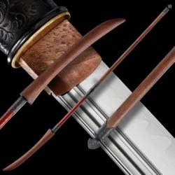 ORENJI Japanese Naginata Sword - T-10 Steel, Real Choji Hamon