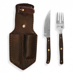 nůž+vidlička v pouzdru Dellinger RETTER BBQ Damascus