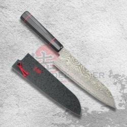 "nůž Santoku 180 mm Kanetsune Damascus ""Namishibuki"" series"