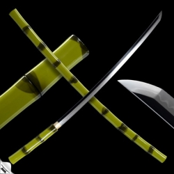 Japanese Take Shikomizue, zelený bambus, T-10 Steel, Real Choji Hamon