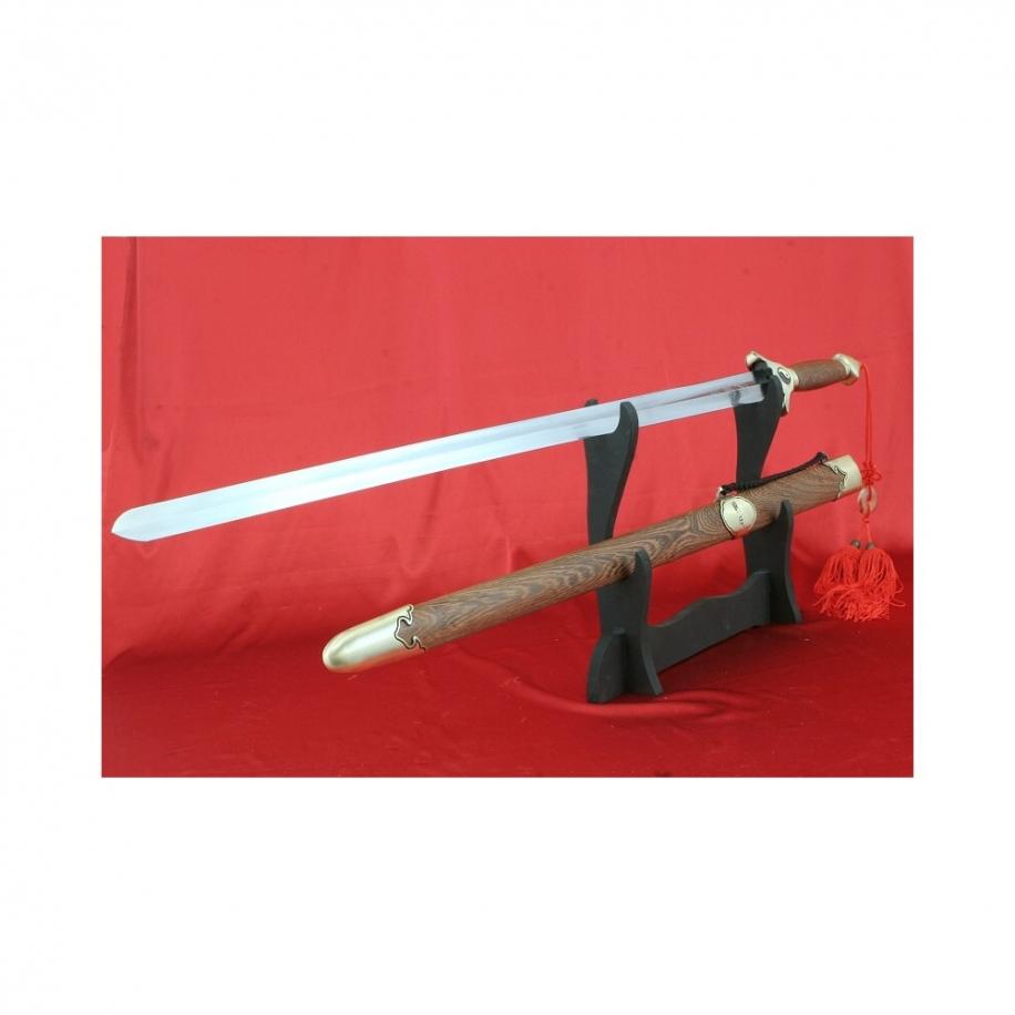 čínský cvičný meč Tai-chi, čepel z pružné nerezové oceli, dřevěná pochva