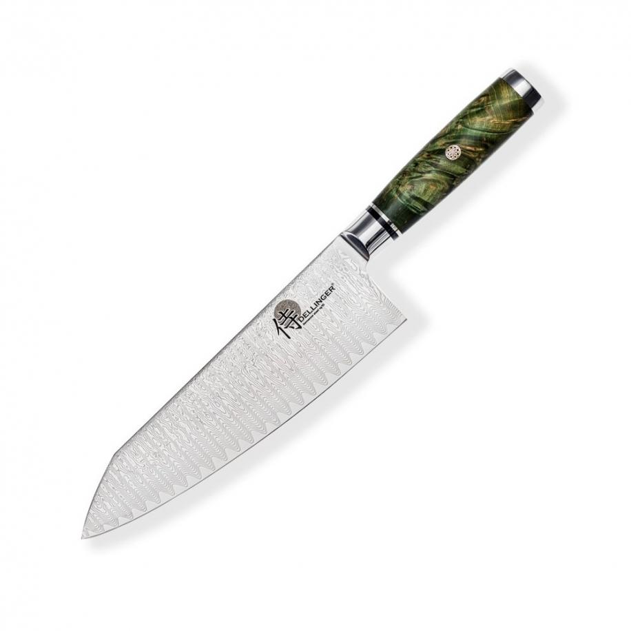 """Kiritsuke / Chef 8"""" (200mm) Dellinger LADDER-Green Professional Damascus"""