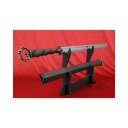 Čínská šavle HAN DAO od firmy Kawashima z překládané oceli a dřevěnou pochvou.