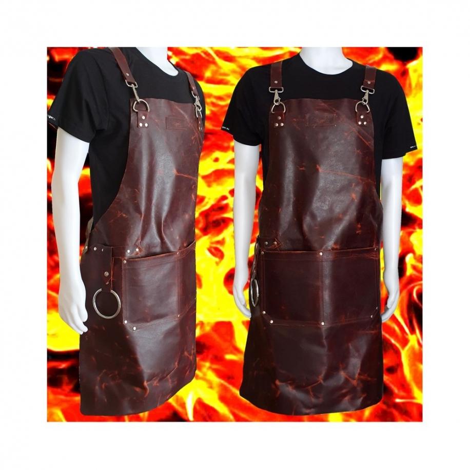 kožená zástěra Dellinger LEATHER BBQ - Vintage FIRE Look