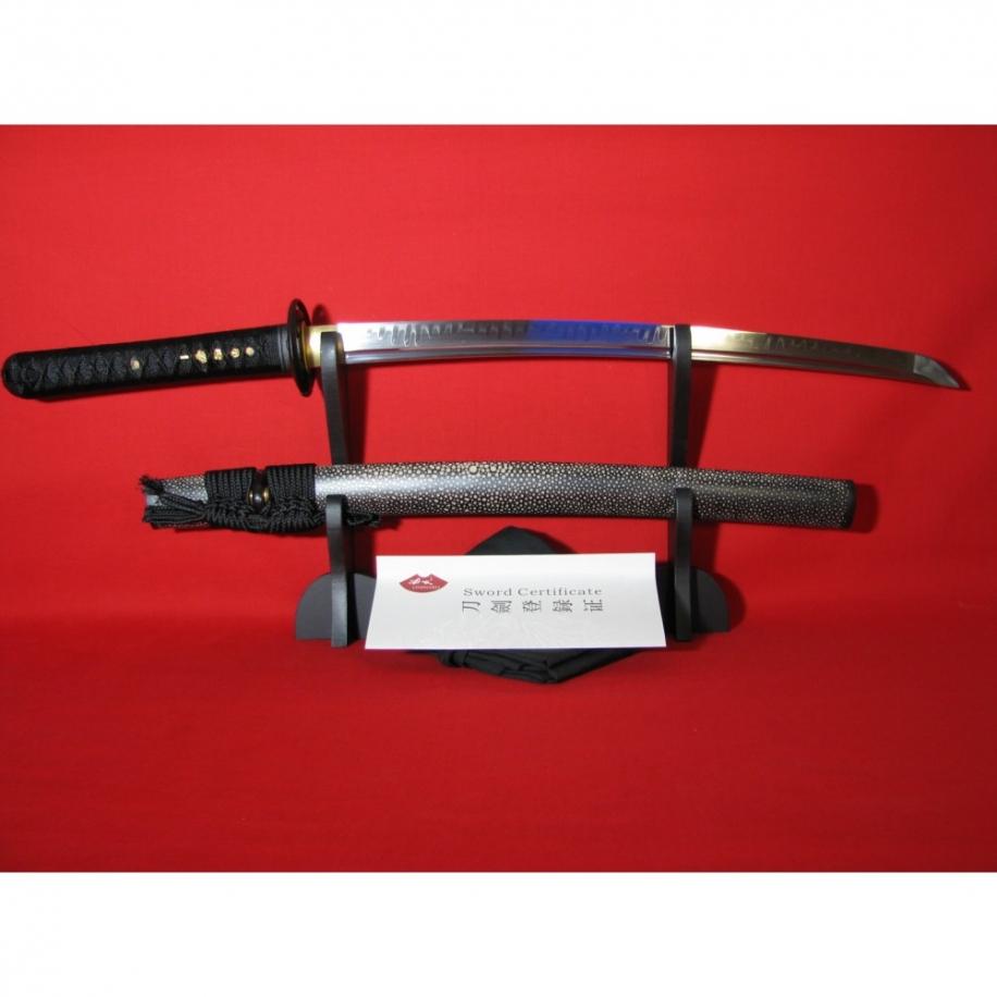 wakizashi AKAEI z uhlíkové oceli AISI 1095 a reálným hamonem