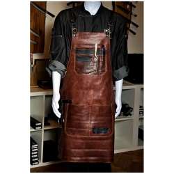 kožená zástěra Dellinger SOFT LEATHER BBQ - Brown Vintage Look