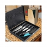 sada 4 nožů + brousek + stojan Dellinger Easy v dřevěné dárkové krabici